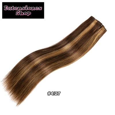 Extensiones cabello humano cortina liso mechadas tono 4 27 extensiones de cabello humano - Extensiones cortina ...